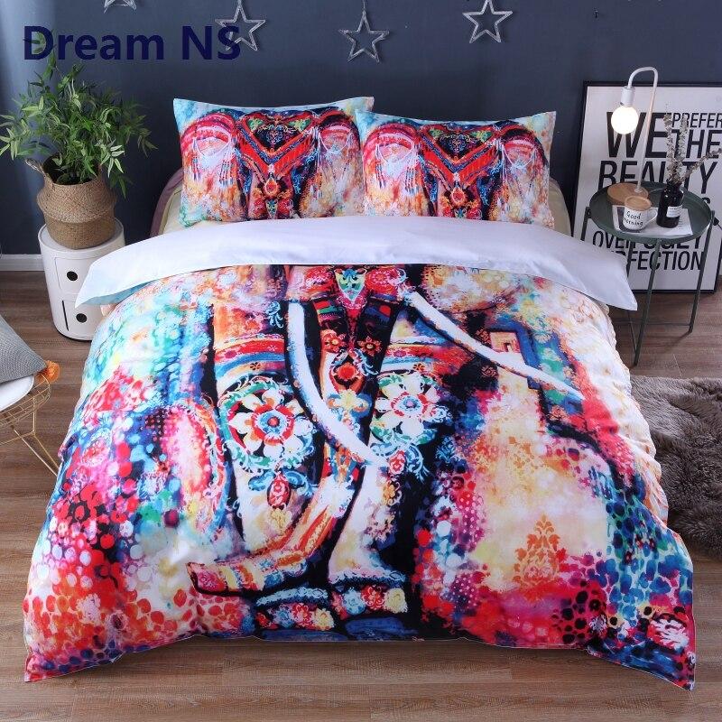 AHSNME nuevo juego de cama elefante Arco Iris Graffiti edredón cubierta Dekbedovertrek 2 Persoons Hippie ropa de cama tamaño King Queen