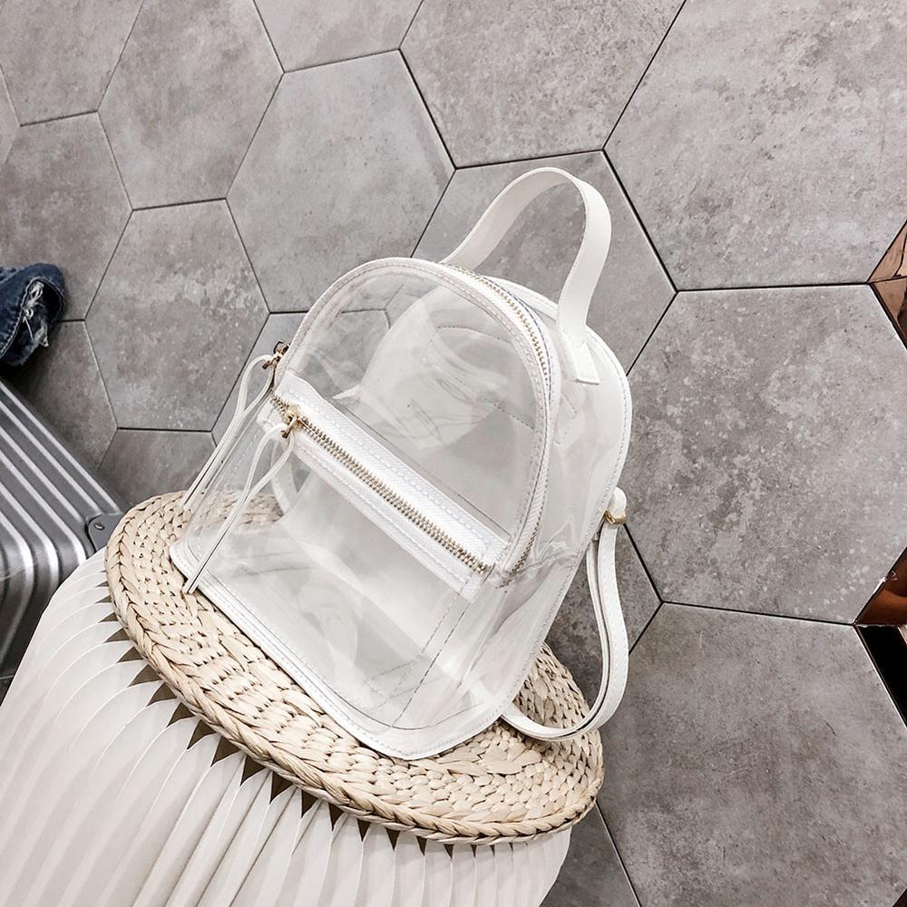 Transparent Female Backpack Clear PVC Lady Rucksack Teenager Girl School Bags Mini Soft Women Female Casual Bagpack Mochilas