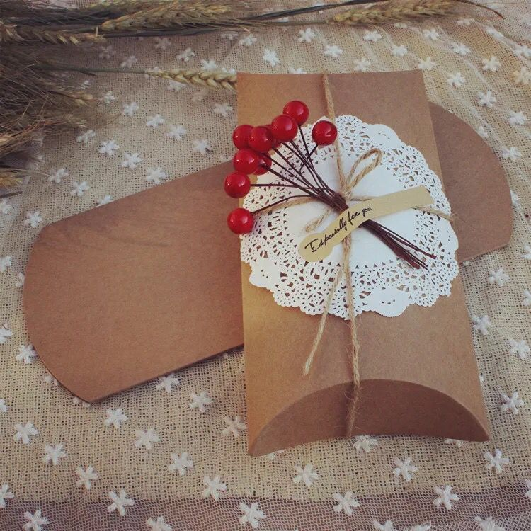 Caja de Papel kraft para almohada, 7,8 18,5x3cm/21x10x4cm, dos tamaños joyería/regalo/anillo/pendientes/cajas de embalaje para collar/carcasas