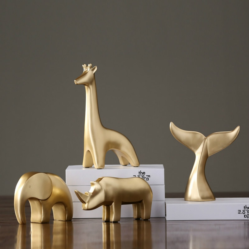 Adornos pequeños de resina dorada sala de estar modelo de hogar creativo gabinete de vino decoración de oficina regalo