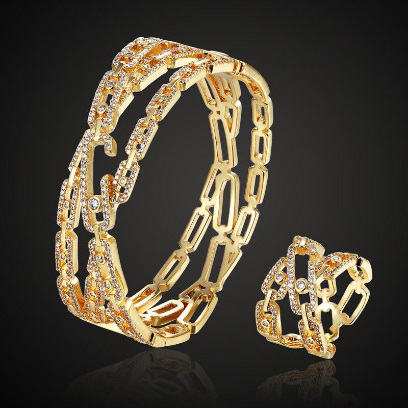Люксовый бренд 3A кубический Тереза циркон медь браслет ювелирные изделия с кольцом свадебные аксессуары наборы Металл Медь пара браслет ко...
