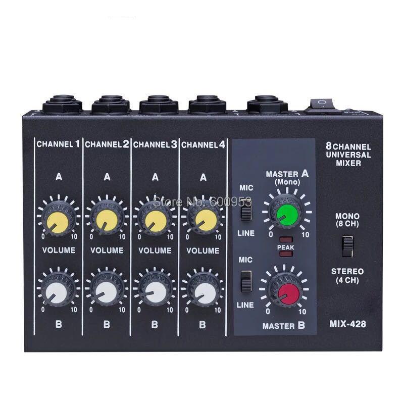 Профессиональный 4/8 канальный аудио мини-миксер с эффектом ревербератора, 1/4 Питание от батареи или постоянного тока многофункциональный