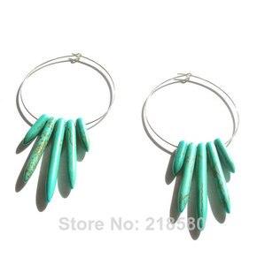 H-CE44 Boho Style Jewelry Blue  Howlite Spike Hoop Earrings Silver or gold Pendant Earrings for Women