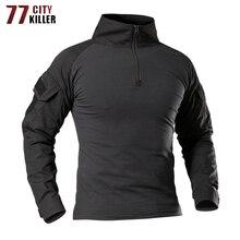 77 Stad Killer Tactische Leger T-shirt Mannen Combat Camouflage T-shirt Militaire Kracht Multicam Camo Lange Mouw Hunt T Shirts s-4XL