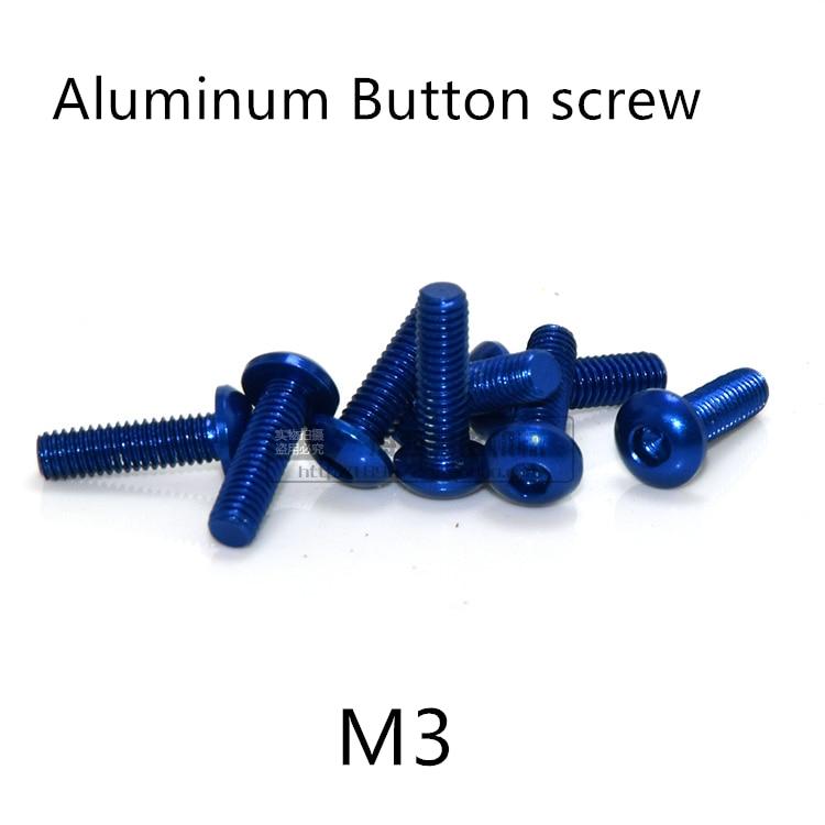 20 шт., M3 * 5/6/8/10/12/14/16 мм, темно-синий цвет, алюминиевая Шестигранная головка, колпачок для винтов модели RC