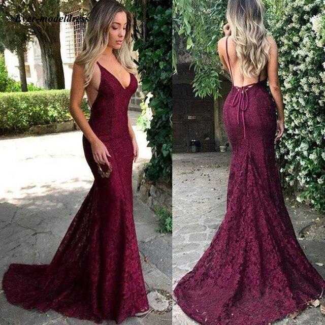 Burgundy Mermaid Bridesmaid Dresses 2019 Lace Spaghetti Straps V-Neck Open Back Wedding Guest Party Gown vestido de festa longo