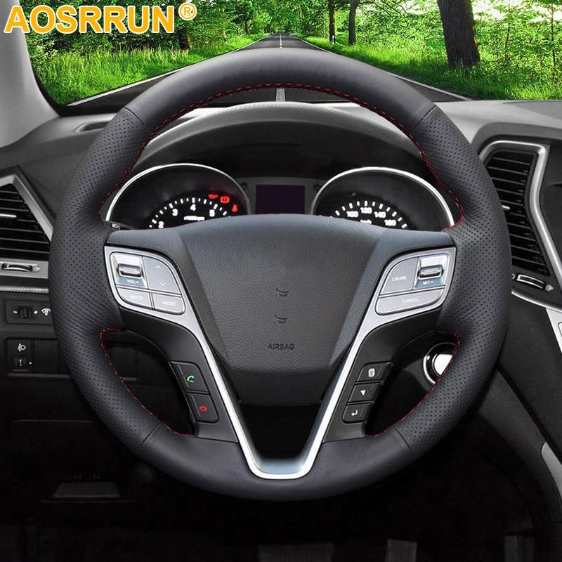 AOSRRUN черный кожаный прошитый вручную чехол рулевого колеса автомобиля для Hyundai ix45 Santa Fe 2013 2014 2015 2016 автомобильные аксессуары