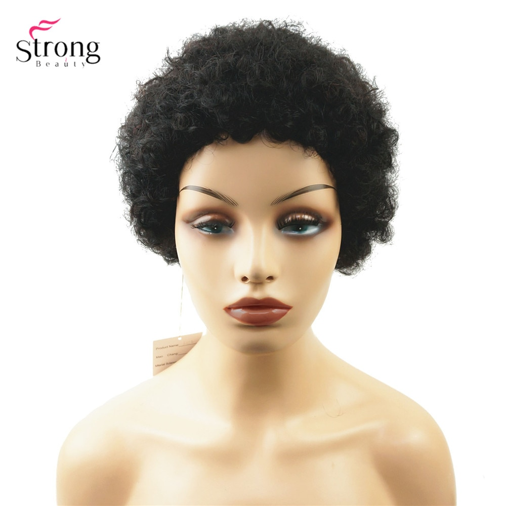 StrongBeauty African American Short Kinky Curly Human Hair Wig Blend Soft Hair Women's Wigs Black