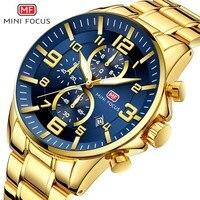 MINI FOCUS Business Mens Watches Top Brand Luxury Sports Quartz Watch Man Chronograph Military Male Clock Gold relogio masculino