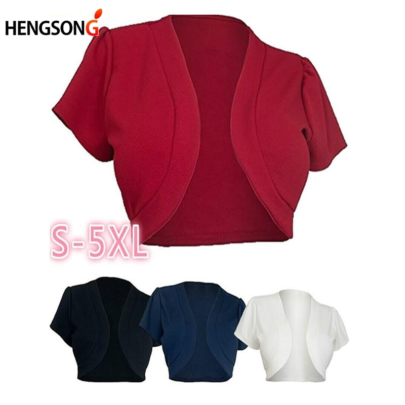 Chaqueta corta de talla grande 5XL 2020 de manga corta para mujer, Chaqueta corta Bolero sólido con puntadas abiertas, abrigos delgados para mujer