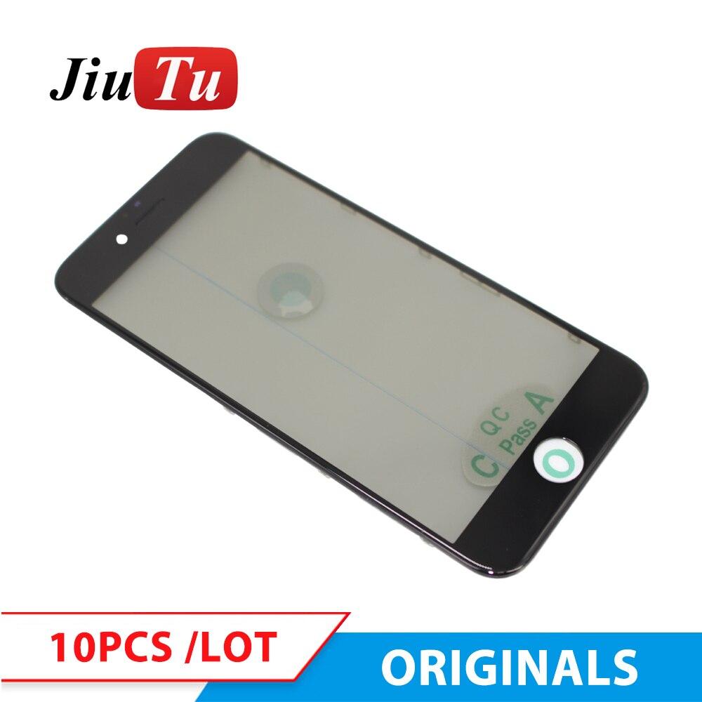 Jiutu original 4 em 1 painel frontal de vidro com moldura moldura + oca polarizador filme para iphone 8g 8 plus 7g mais reparo lcd