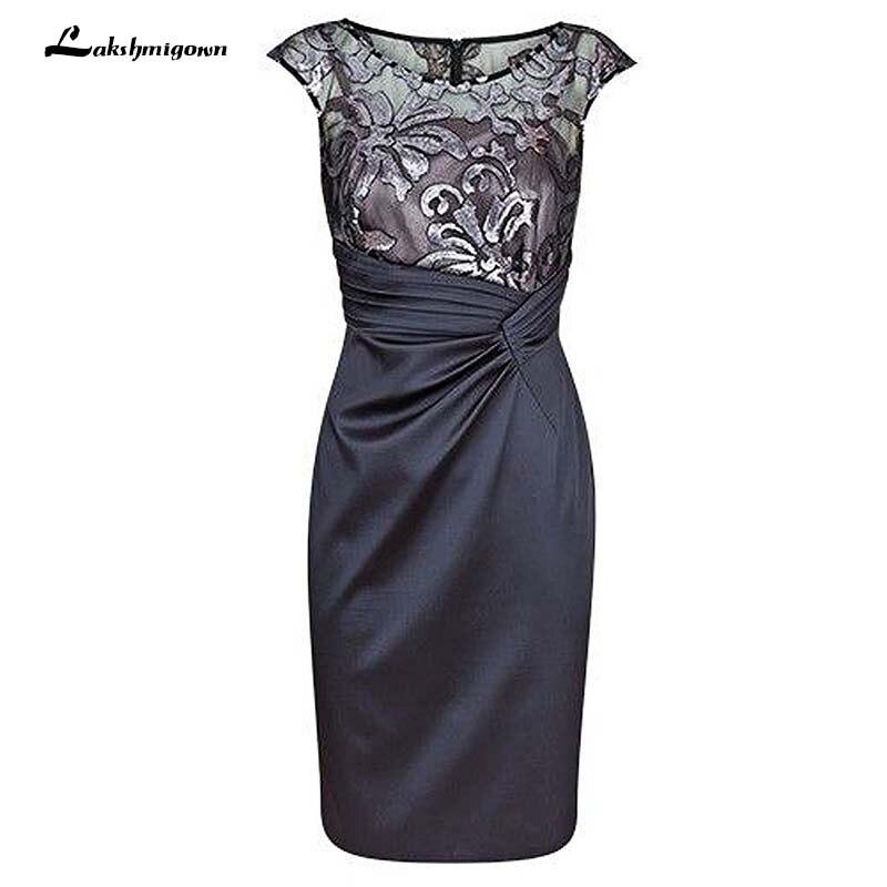 Vestido gris Bateau gris oscuro Madre de la novia vestido fruncido con encaje