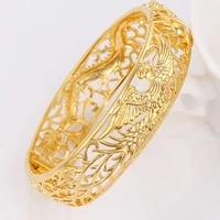 thick dragon phoenix bangle yellow gold filled womens bangle bracelet dia 6cm