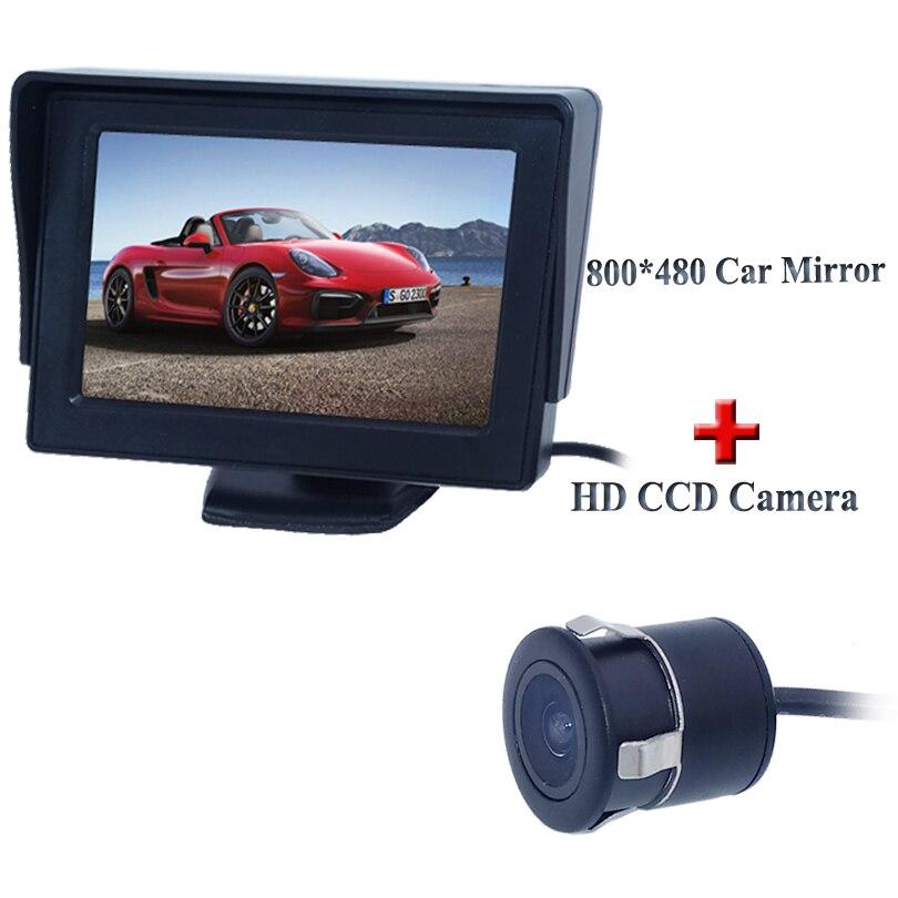 """2 en 1 sistema de asistencia para aparcamiento cámara trasera de coche + 4,3 """"Monitor LCD TFT HD 170 ángulo de cámara de reserva de coche Monitor de coche"""