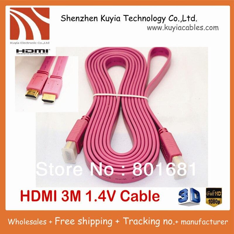 KUYiA, envío gratis, chapado en oro, alta velocidad, cable hdmi 1,4 V 3M, cable plano hdmi 1080p, compatible con 3D