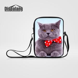 Dispalang Cute Cat Print Women Mens Messenger Bags Animal Small Casual Crossbody Bag Children Shoulder Handbags Bolsas Femininas