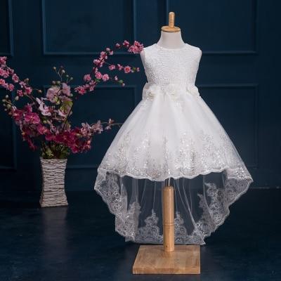 Child White Trailing Flower Girl Dresses for Weddings Princess Birthday Dress for Toddlers 2016 Little Girls Evening Gowns