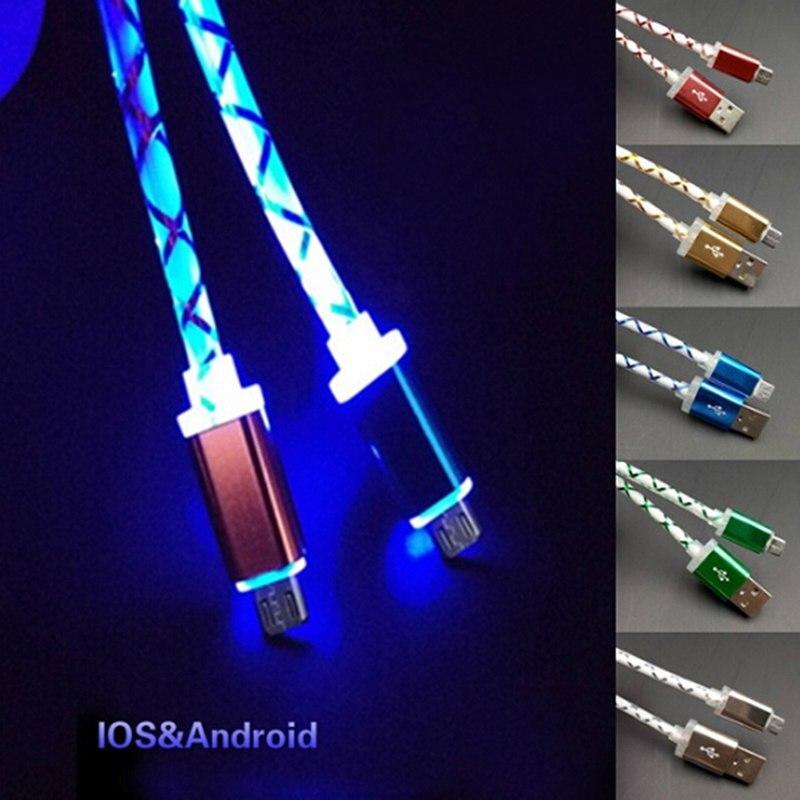 Cabo micro usb com luz de led, cabo para telefones, micro usb, cabo para carregamento, sincronização de dados, para telefones android, universal, 1m cabos