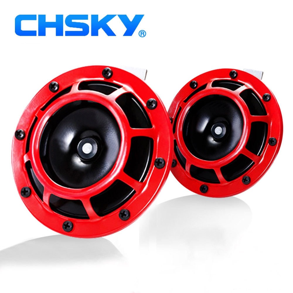 Claxon de coche CHSKY rojo supertono, soporte de rejilla fuerte, Trompeta Universal de coche 118dB, bocina eléctrica de doble tono para coche/motocicleta