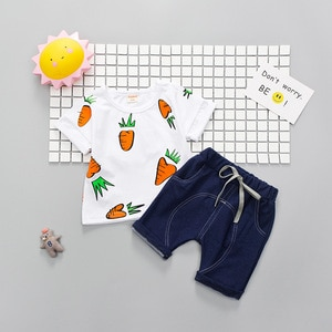 Boys Sets 2018 Carrot Printing Tshirt  Summer Top Denim Shorts 2pcs Newborn Baby Kid Outfits Toddler Clothing Sport Suit For Boy