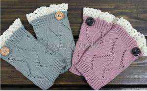Lace button Boot Cuffs knit boot topper lace trim faux legwarmers - lace cuff - shark tank leg warmers Preorder #3736