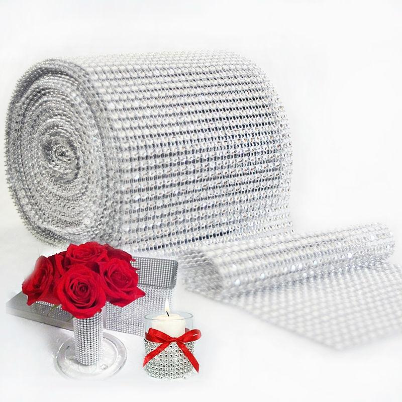 12cm * 91.5cm bling diamante malha rolo evento unicórnio festa de aniversário casamento decorações diy mesa bolo envoltório fitas de cristal tule