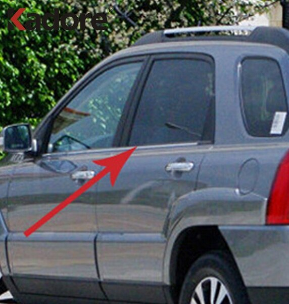Para Kia Sportage 2005 2006 2007 2008 2009 2010 molduras de marcos de ventana de coche de acero inoxidable cubierta de moldura pegatina accesorios exteriores