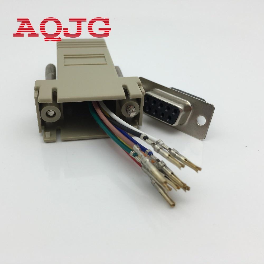 Adaptador DB9 hembra a RJ45 hembra F/F RS232, extensor de conector convertidor...
