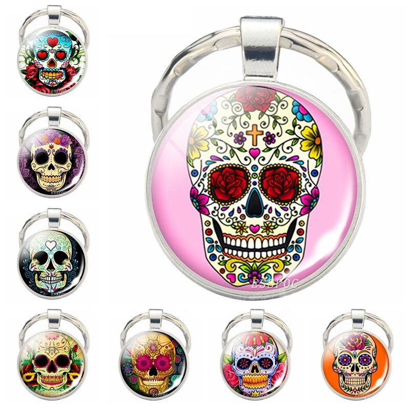 Sugar Skull Keychain Mexico Folk Art Sugar Skull Glass Pendant Metal Keyring Day of the Dead Jewelry Gift Halloween Gift