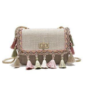National Embroidery Women Crossbody Bags Vintage Tassel Shoulder Messenger Bag Ethnic Knitting Women Cltuch Handbag Shoulder bag