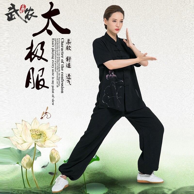 Manga corta ropa tradicional china de algodón Tang traje de Kung Fu uniforme de Tai Chi camisa de verano blusa de Zestaw sztuki walki