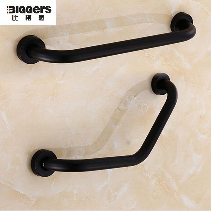 Darmowa wysyłka luksusowe kolor czarny ze stali nierdzewnej prosto łazienka poręcz poręcz 43/53cm uchwyt bezpieczeństwa wieszak na ręczniki 5698