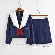 2019 japanischen Schule JK Uniformen Sailor Anzug Lolita Schnee Weiß Stickerei Bluse Plissee Rock Anzug Frauen Seifuku Kleid Navy