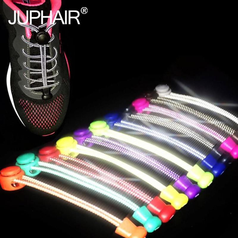 1 par Noite Brilho Elástico Cadarços Shoestrings/Jogging/Triathlon/Esporte de Fitness Multicolor Lace Preto Fivela Bloqueio Sapato atacadores