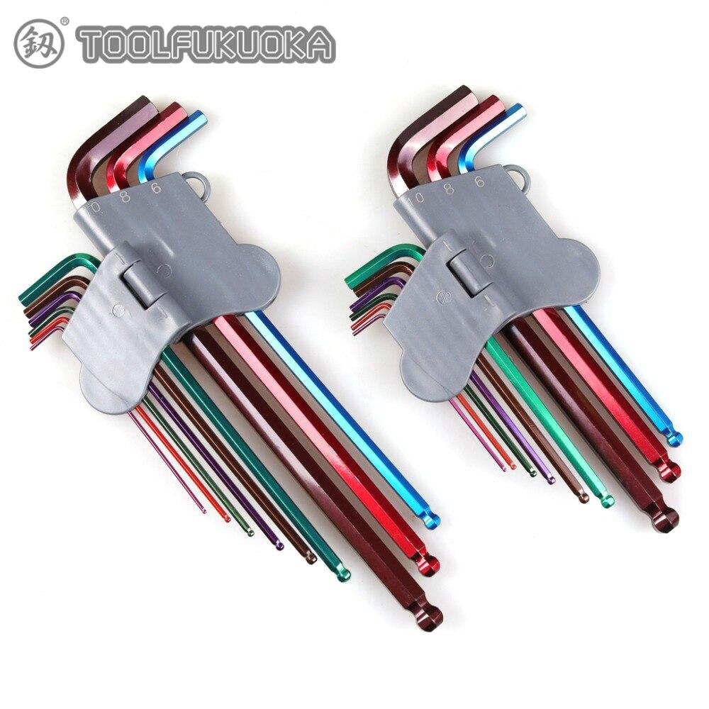 9 pièces 1.5-10mm jeu de clés hexagonales tête à douille clé Allen clé à bille clé hexagonale jeu de clés pour réparation de vélo ensemble doutils à main
