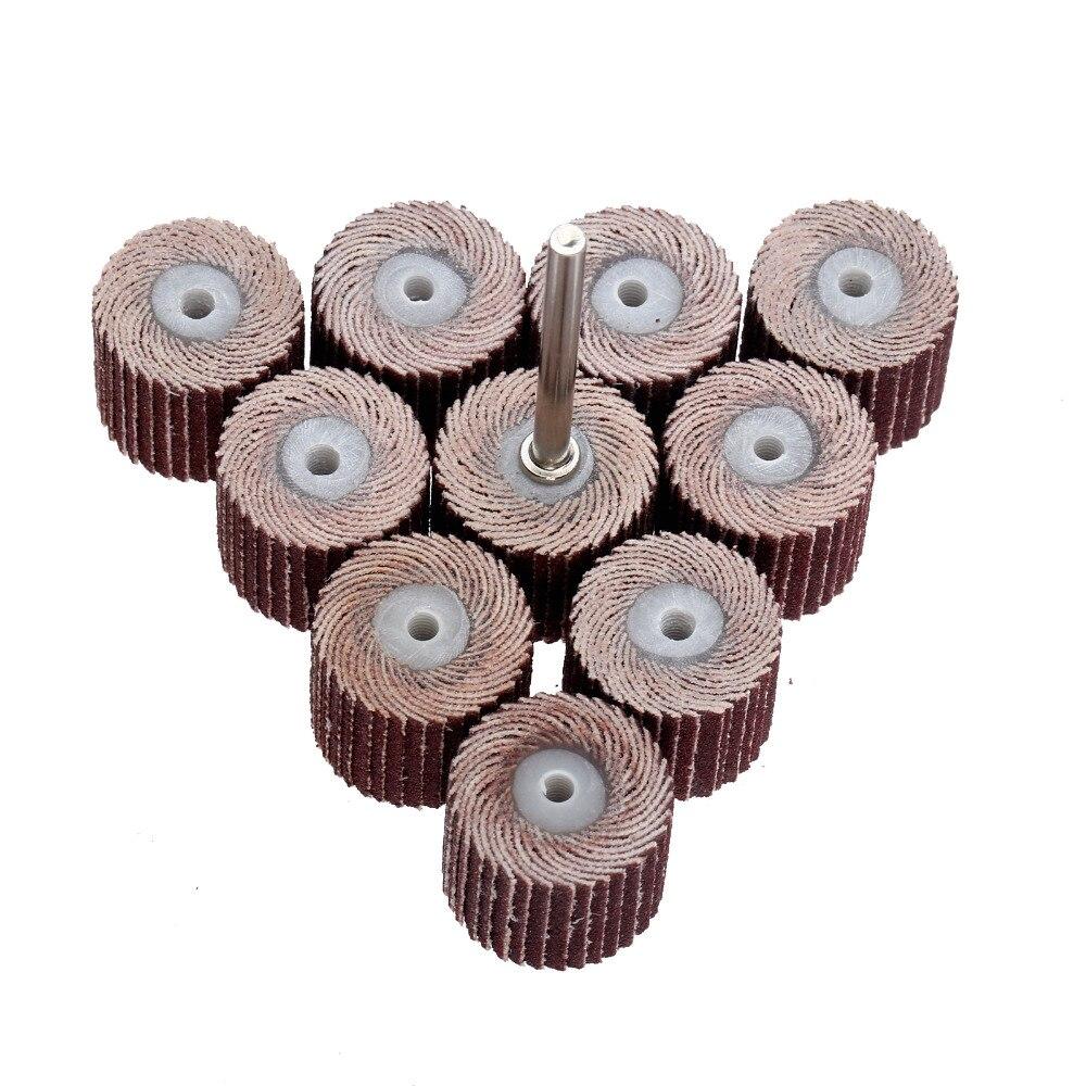 10 Uds 240-grano 10x10x3mm disco de aleta de lijado de solapa ruedas cepillo arena herramienta rotativa Dremel accesorios dremel
