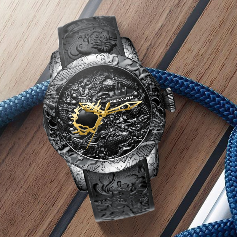 Reloj MEGALITH DRAGÓN dorado para hombre, reloj a la moda impermeable, reloj de pulsera deportivo para hombre, reloj Masculino