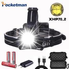 Puissant XHP70.2 phare LED très brillante phare USB Rechargeable tête torche XHP70 lanterne 3*18650 batterie pêche Camping