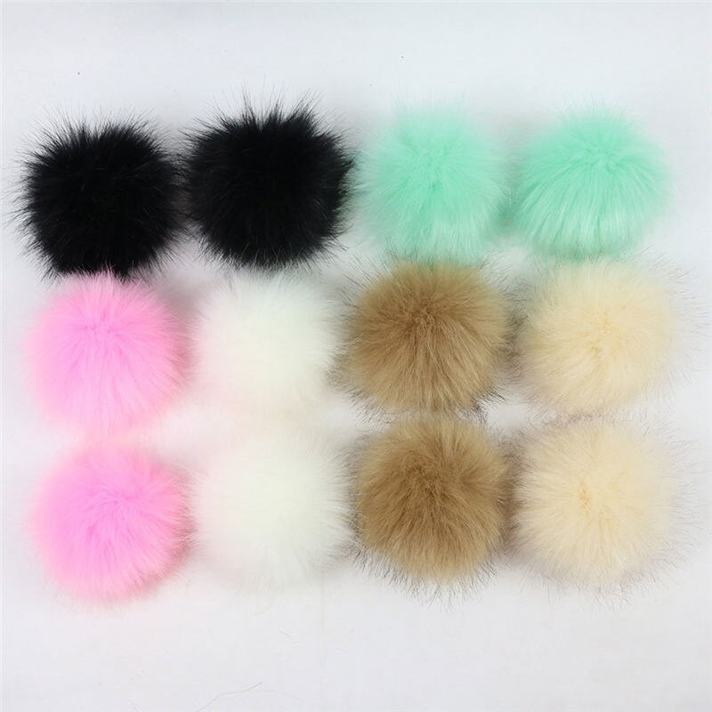 12 PCs Mixed Pom Pom Balls Craft DIY Accessory Soft Imitation Fox Fur Round With Ring 8cm Dia. Kids Girl Clothes Backpack Decos