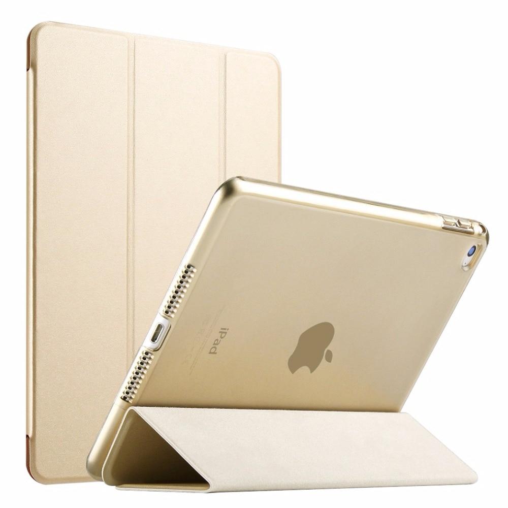 Funda RYGOU para iPad Air 2 2014, color yippee PU + funda trasera de PC transparente Ultra delgada ligera de cuero para iPad Air 2 6 Gen