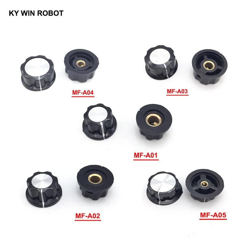 1 Uds sombrero MF-A01 MF-A02 MF-A03 MF-A04 MF-A05 perilla de potenciómetro WH118/WX050 perilla de baquelita de núcleo de cobre, Agujero interior 6mm
