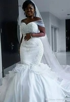 hot sale lace appliques mermaid wedding dresses sweep train sweetheart cap sleeves african bridal gowns