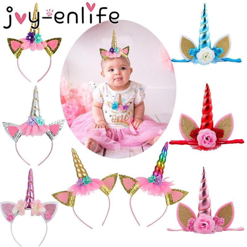 JOY-ENLIFE chica cumpleaños unicornio cuernos diadema flor decoración de ducha de bebé sombrerería de fiesta de niños decoración para el pelo diademas suministros