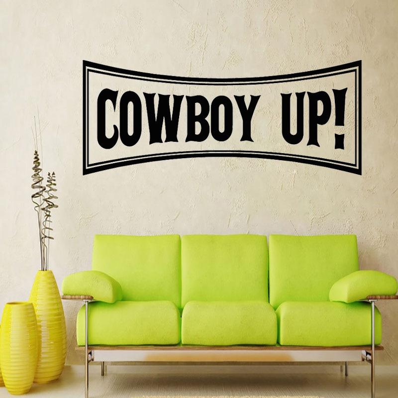Gran oferta de adhesivos de pared con forma cuadrada de Cowboy Up decoración del hogar sala de estar vinilos de pared niños decoración de habitaciones de chicos