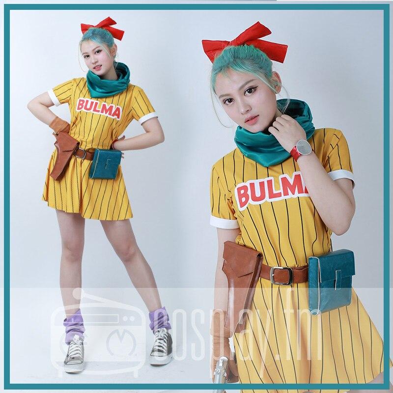 Bulma קוספליי תלבושות צהוב שמלה עם צעיף וחגורה
