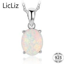 LicLiz 925 ayar gümüş Opal kolye kadınlar için Dangle Charm zincirler kolye kolye büyük taş Solitaire kolye LN0246
