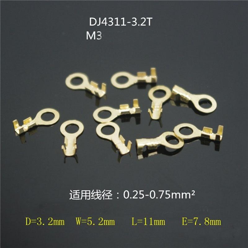 3,2 runde terminal block M3 ring lug messing verzinnt