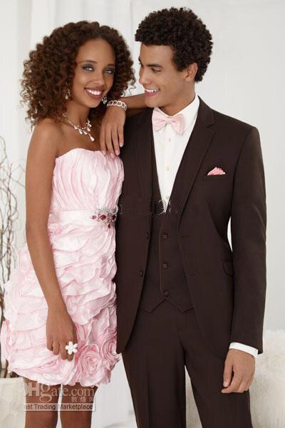Esmoquin de novio de Chocolate con cuello de muesca, trajes de boda para hombre (chaqueta + Pantalones + corbata + chaleco/mejor traje de hombre para hombre