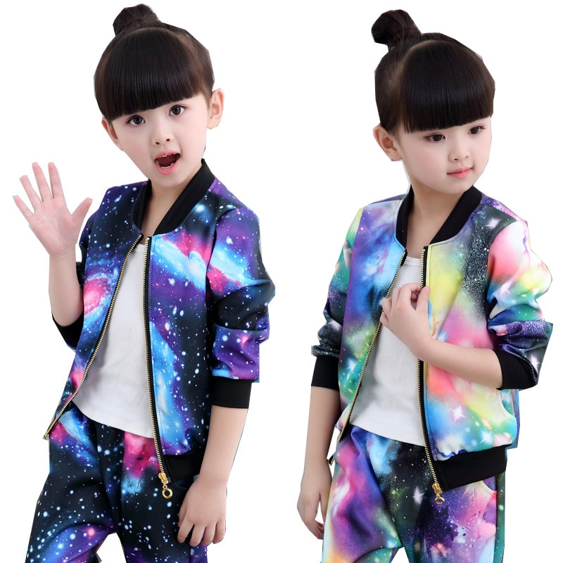 Conjunto de roupas para meninas 2019 crianças moda atividade jaqueta com zíper jaqueta e calças terno roupas para crianças outono esportes terno s
