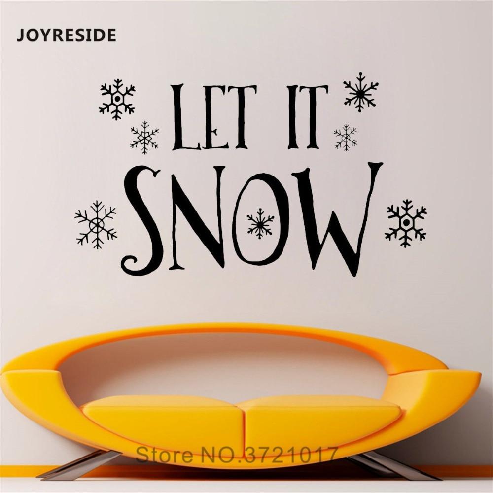 Joyrest-autocollant Mural de neige   Autocollants flocons de neige dhiver, en vinyle, chambre à coucher, salon, décoration intérieure de la maison, Art Mural A1418